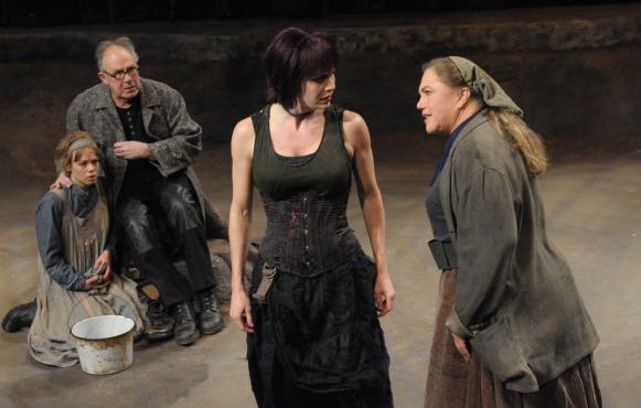 (L to R) Erin Weaver as Kattrin, Rick Foucheux as the Chaplain, Meg Gillentine as Yvette and Kathleen Turner as Mother Courage - Photo by Stan Barouh