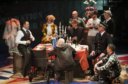 Macheath (Mitchell Jarvis, left) holds court on his wedding day (from left clockwise: Erin Driscoll, Sean Fri, Thomas Adrian Simpson, Paul Scanlan, John Leslie Wolfe, Ryan Sellers, and Rick Hammerly). -  Photo by Margot Schulman.