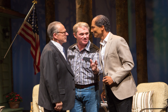 (L to R) Ron Rifkin as Menachem Begin, Richard Thomas as Jimmy Carter and Khaled Nabawy as Anwar Sadat - Photo by Teresa Wood.
