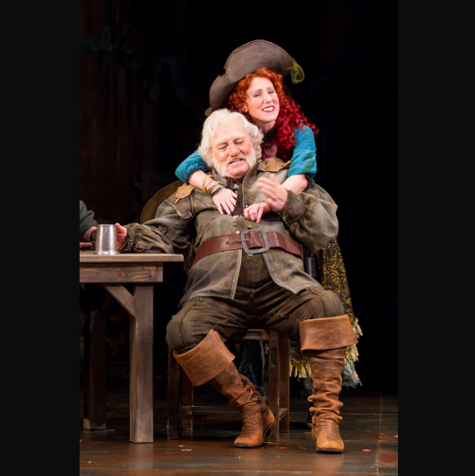 Stacy Keach as Falstaff and Maggie Kettering as Doll Tearsheet -  production of Henry IV, Part 2. Photo by Scott Suchman.