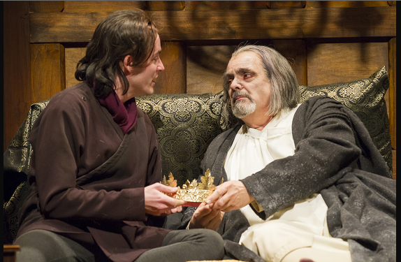 Matthew Amendt as Prince Hal and Edward Gero as King Henry IV  production of Henry IV, Part 2. Photo by Scott Suchman.