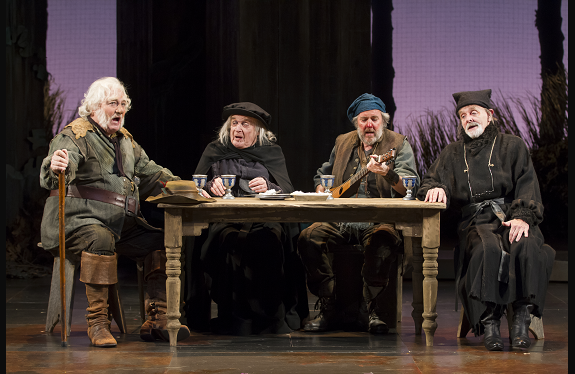 Stacy Keach as Falstaff, Ted van Griethuysen as Justice Shallow, Brad Bellamy as Bardolph, and Bev Appleton as Justice Silence in production of Henry IV, Part 2. Photo by Scott Suchman.