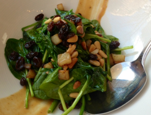 Jaleo's Spinach, Pine Nut and Raisin Salad