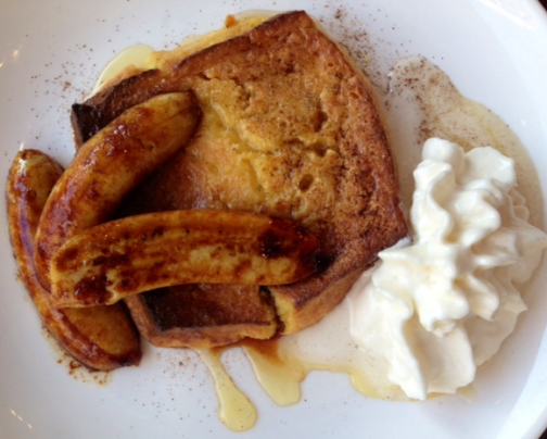 Sweet-soaked Spanish Toast with Carmelized Bananas and rum whipped cream at Jaleo