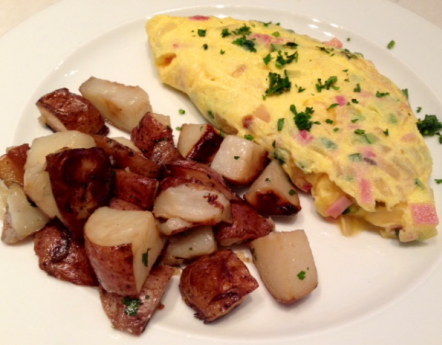 Omelette with red potatoes at Malmaison