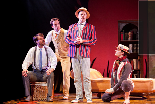 Photo by Koko Lanham. Tim Getman as George, Rob Jansen as Harris, Tom Story as Jerome, Alex Mills as Montmorency