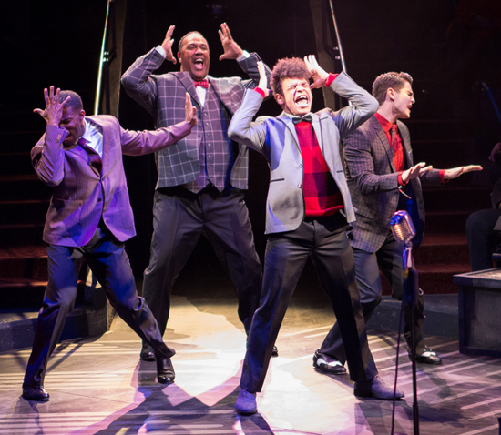 (L to R) Jay Adriel, Stephawn P. Stephens, Michael J. Mainwaring and Austin Colby in Smokey Joe's Café—The Songs of Leiber and Stoller - Photo by Teresa Wood.