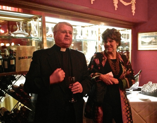 Father Luis de Lezama with author Joan Nathan