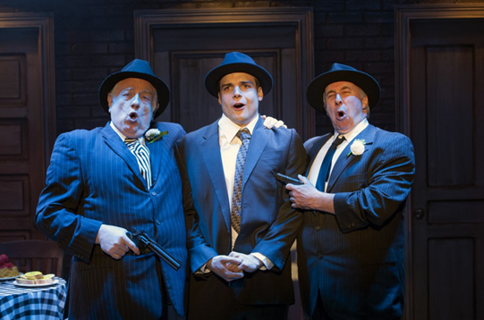 "Fat Tony (Ed Dixon), Nick Cutter (Doug Carpenter) and Gino (Christopher Bloch) sing ""Who Put the Mob In"" in ""Cloak and Dagger,""Photo by Margot Schulman."