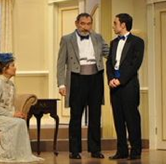 Anne Paine West as Norma Hubley and Bernie Engel as Roy Hubley explains their daughter's wedding day jitters to fiancée Bordon Eisler played by Erblin Nushi - photo credit to Matthew Randall.