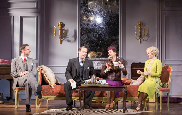 James Waterston as Elyot, Jeremy Webb as Victor, Bianca Amato as Amanda and  Autumn Hurlbert as Sibyl in the Shakespeare Theatre Company production of Noël Coward's Private  Lives, directed by Maria Aitken. Photo by Scott Suchman