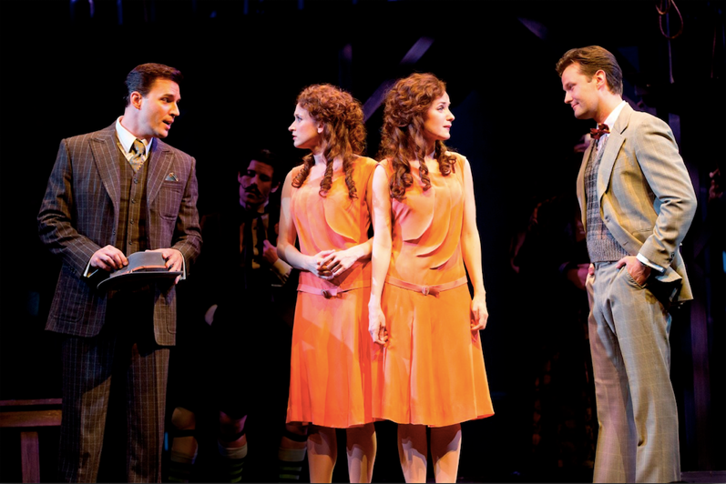 (l-r) Ryan Silverman as Terry Connor, Emily Padgett as Daisy, Erin Davie as Violet, Matthew Hydzik as Buddy Foster. Photo by Joan Marcus.