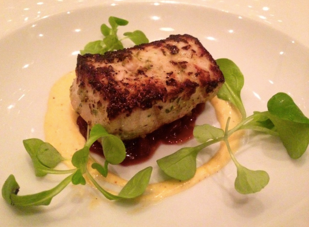 Hawaiian Swordfish marinated in sofrito with a yuzu emulsion - Wilo Benet dish now at Mio Restaurant