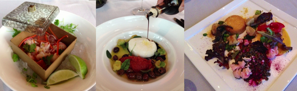Lobster Seviche - Mozzarella Caprese Salad -  Spring Collection vegetarian entree