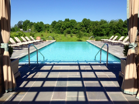 The heated infinity pool, one of three