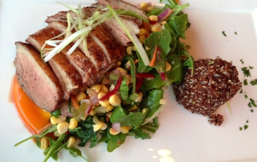 Hudson Valley Duck Breast with Quinoa and Spicy Corn Salad at Maple Avenue