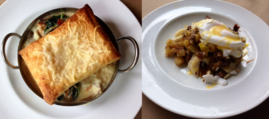 Oyster Pot Pie at High Spot & Zinfandel Beef Cheeks & Blue Crab Hash