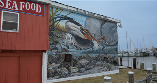 Mural Photo by Cambridge Artist Michael Rosato on JM Clayton Seafood
