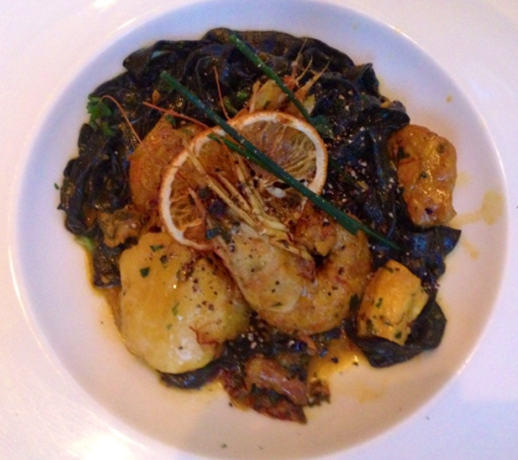 Squid ink pasta with head-on Shrimp at Lupo Verde