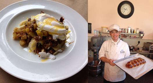 Zinfandel Beef Cheeks & Blue Crab Hash & Pastry Chef Adam Powley of Elliot's Baking Company shows off his brioche