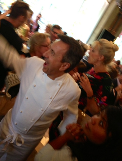 Daniel Boulud greets guests at his DBGB opening party