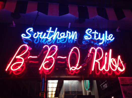 Neon BBQ sign on Beale Street