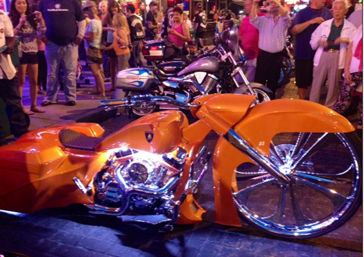 A tricked out Lamborghini bike wows the crowd on Beale Street