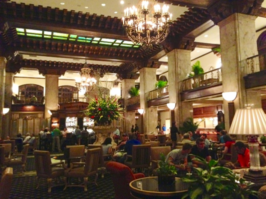 The Italianate lobby of the Peabody Hotel