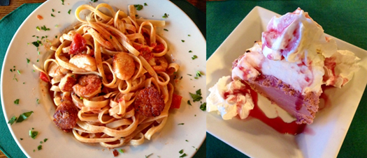 Linguini with shrimp and scallops - Blackberry Ice Cream Pie at the Pollock Dining Room