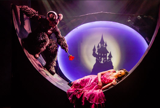Irinka Kavsadze as Belle, Vato Tsikurishvili as The Beast. Photo by Johnny Shryock