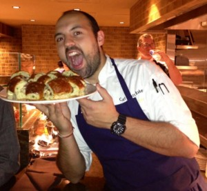 City Perch Executive Chef Matt Baker hams it up on opening night