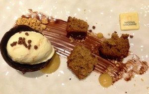 Spiced Banana Cake and Salted Caramel Ice Cream, Hazelnut Praline Powder, Bananas Foster Gel and Dark Chocolate Sauce