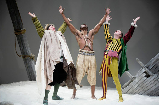 (L to R) Dave Quay as Stephano, Clifton Duncan as Caliban and Liam Craig as Trinculo