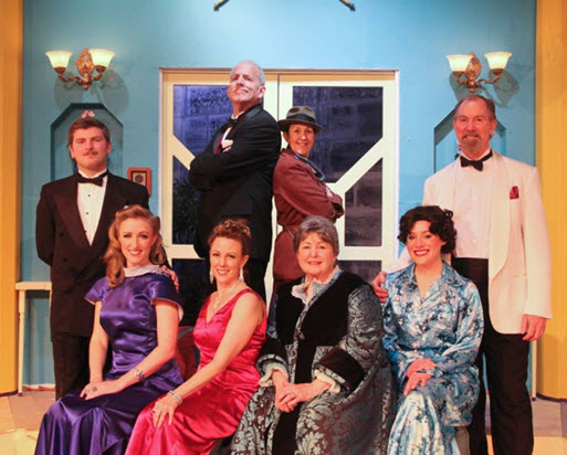 Front Row (L to R) – Aggie Wheeler (Maureen R. Goldman), Daria Chase (Melissa Dunlap), Martha Gillette (Patricia Spencer Smith), and Madge Geisel (Pam Kasenetz).  Back Row (L to R) – Simon Bright (Joe Quinn), William Gillette (John Henderson), Inspector Harriet Goring (Michelle Fletcher), and Felix Geisel (Chuck Leonard) - Photo credit Matt Liptak
