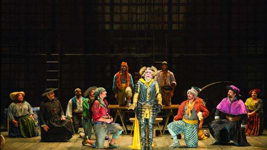 Sidney DuPont (Paco), Joey Elrose (Juan), James Hayden Rodriguez (Jose), Ceasar F. Barajas (Pedro), JP Moraga (Tenorio), Nathan Lucrezio (Anselmo), and Robert Mammana (The Duke) in the Shakespeare Theatre Company's production of Man of La Mancha, directed by Alan Paul. Photo by Scott Suchman.