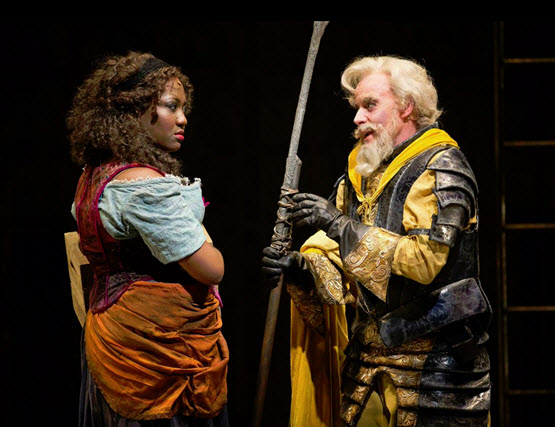 Amber Iman as Aldonza and Anthony Warlow as Don Quixote in the Shakespeare Theatre Company's production of Man of La Mancha, directed by Alan Paul. Photo by Scott Suchman.