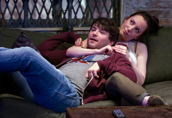 Alex Brightman (Jonah) and Jessica Hershberg (Charlie) in Soon at Signature Theatre. Photo by Teresa Wood.