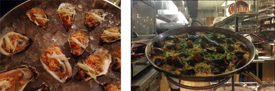 Oysters picadillo - Paella negra as seen from the kitchen counter bar