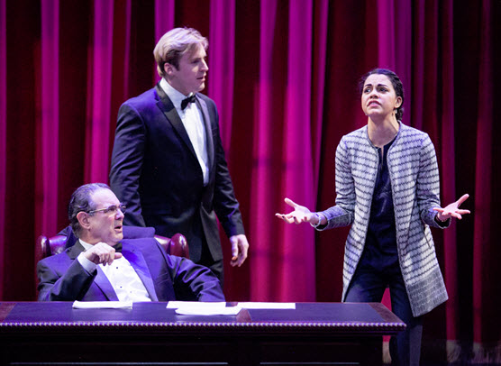 (L to R) Edward Gero as Supreme Court Justice Antonin Scalia, Harlan Work as Brad and Kerry Warren as Cat in The Originalist. Photo by C. Stanley Photograph