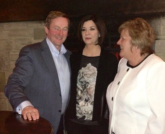 Prime Minister of Ireland Enda Kenny with Fionnaula Kelly and Daniel O'Connell's manager, Trini Hughes
