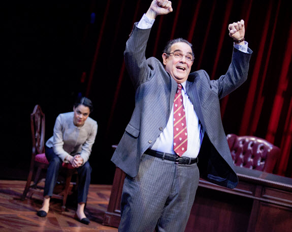 (L to R) Kerry Warren as Cat and Edward Gero as Supreme Court Justice Antonin Scalia in The Originalist.  Photo by C. Stanley