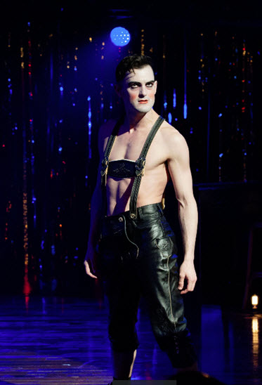 Wesley Taylor (Emcee) in Cabaret at Signature Theatre. Photo by Margot Schulman