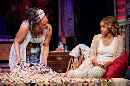 (L to R) Tonye Patano as Clementine and Meeya Davis as Amber in Katori Hall's -. Photo by C. Stanley Photography.