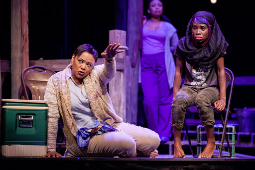 (L to R) Caroline Clay as Gio and Afi Bijou as Amber, with Nikiya Mathis as Cassan, in Katori Hall's The Blood Quilt - Photo by C. Stanley Photography.