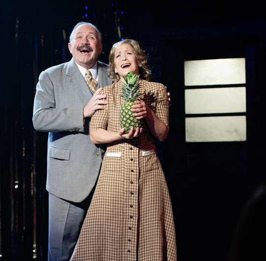 Rick Foucheux (Herr Schultz) and Naomi Jacobson (Fraulein Schneider) in Cabaret at Signature Theatre. Photo by Margot Schulman.