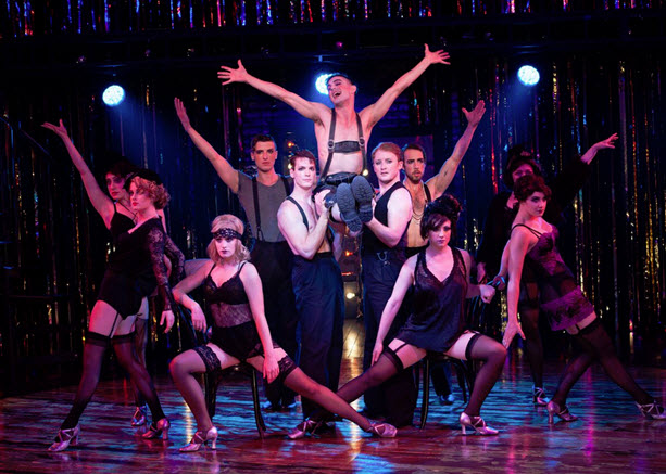 Wesley Taylor (Emcee) and the Kit Kat Boys and Girls in Cabaret at Signature Theatre. Photo by Margot Schulman.