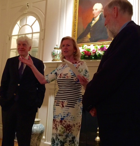 Ambassador Anne Anderson makes a presentation to playwright, Joe Hassett at the Resid