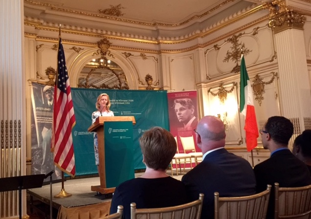 Ambassador Anne Anderson addresses guests at the Cosmos Club
