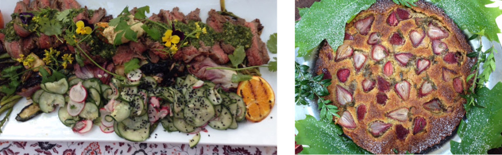 Grilled beef chimichurri with Satsumi oranges and summer vegetables - Rose and Rhubarb Torte