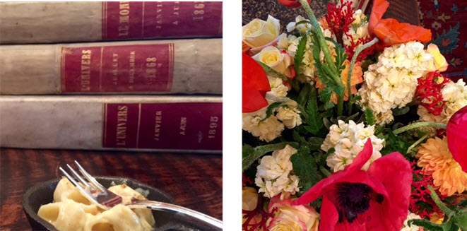 Mini Mac n' Cheese share space with bound copies of Le Monde and L'Univers - Floral arrangements were by Mayflowers